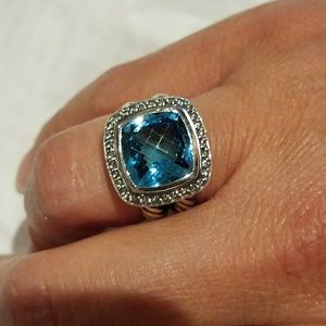 Authentic David Yurman Blue Topaz 11mm Size 4.25